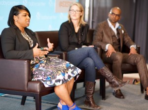 "Vida Cornelius, Executive Vice President and Chief Creative Officer, Walton Isaacson; Jane Lacher, Executive Vice President, Strategy, Zenith Media; and Manoj Raghunandanan, Senior Marketing Director, Johnson & Johnson (Tylenol) discuss ""The Scariest Word in Brand Advertising: Family"" at BabyCenter's SXSW 2016 event."